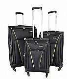 Brooklin סט מזוודות בד 3 יח' | 28 | 24 | 20 אינטש Calpaks -- קלות משקל במיוחד -- צבע שחור