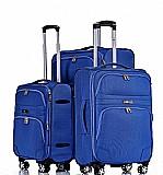 Geneva סט מזוודות בד 3 יח' | 28 | 24 | 19 אינטש SWISS -VOYAGER -- דגם רחב ומפואר  -- צבע כחול