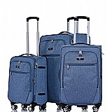 Zürich סט מזוודות בד 3 יח' | 28 | 24 | 19 אינטש SWISS -VOYAGER -- קלות משקל -- כחול גינס
