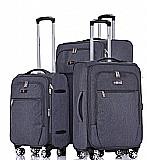 Zürich סט מזוודות בד 3 יח' | 28 | 24 | 19 אינטש SWISS -VOYAGER -- קלות משקל -- צבע אפור כהה